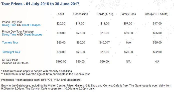 Fremantle Prison Tour Schedule